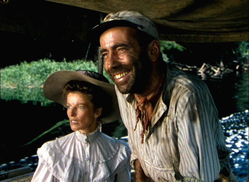 "Actress Katharine Hepburn with Humphrey Bogart in ""The African Queen\"" - one of her most memorable performances - Katharine Hepburn"