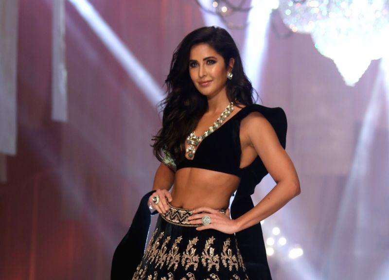 Actress Katrina Kaif showcases fashion designer Manish Malhotra's creations during Lakme Fashion Week winter/festive 2019