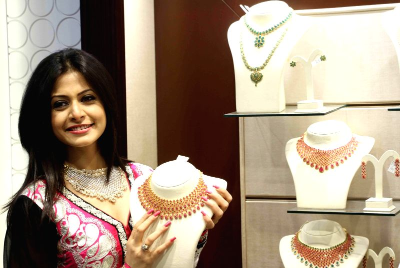 Actress Koel Mullick during a jewellery exhibition in Kolkata on June 21, 2014.