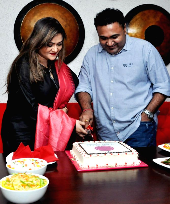 Actress Koneenica Banerjee and Chowman Hospitality Pvt Ltd MD Debaditya Chaudhury at the launch of a restaurant's outlet, in Kolkata on July 12, 2018. - Koneenica Banerjee and Debaditya Chaudhury