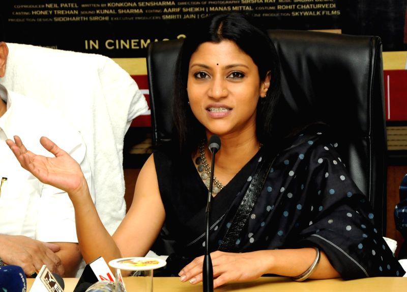 Actress Konkona Sen Sharma addresses a press conference in Ranchi on May 21, 2017. - Konkona Sen Sharma