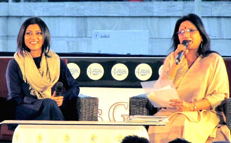 Actress Konkona Sen Sharma (L) during Kolkata Literary Meet 2018 in Kolkata on Jan 27, 2018. - Konkona Sen Sharma