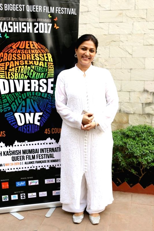 Actress Lubna Salim during the trailer launch of Kashish Mumbai International Queer Film Festival, South Asia's largest LGBTQ film festival in Mumbai on May 17, 2017. - Lubna Salim