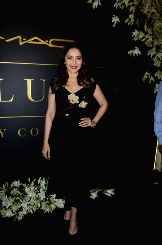 Actress Madhuri Dixit Nene attends makeup artist Mickey Contractor's party in Mumbai on Jan 18, 2018.