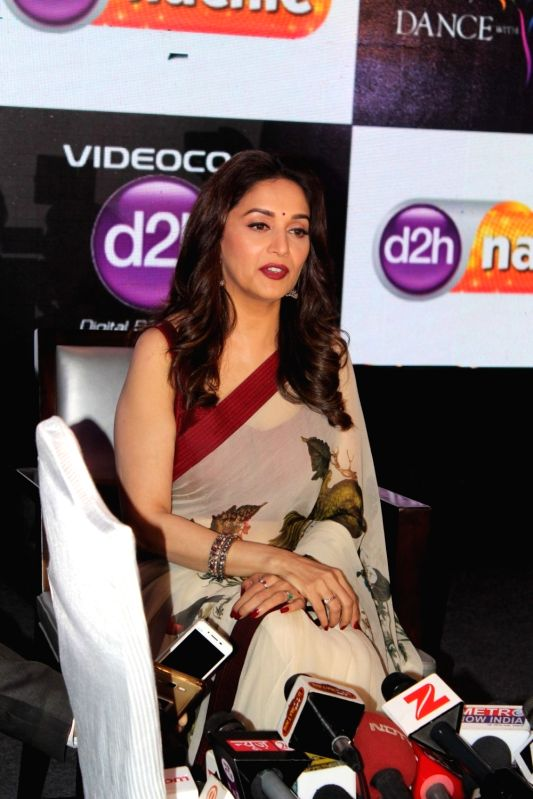 Actress Madhuri Dixit Nene during launch of d2h Nachle, an interactive dance service by Videocon d2h in Mumbai on May 10, 2017. - Madhuri Dixit Nene
