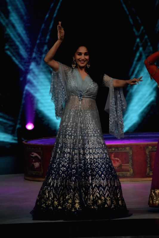 "Actress Madhuri Dixit on the sets of reality television show ""Dance Deewane"" in Mumbai, on June 13, 2018. - Madhuri Dixit"