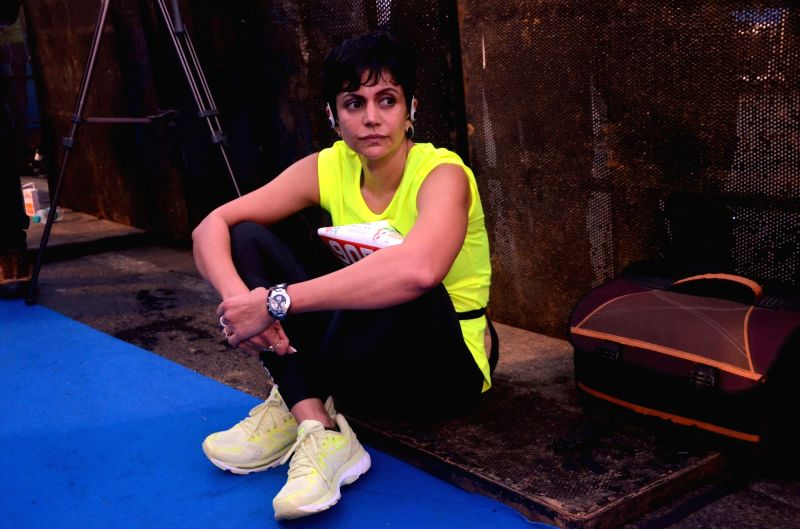 Actress Mandira Bedi during Mumbai Marathon on Jan 21, 2018. - Mandira Bedi