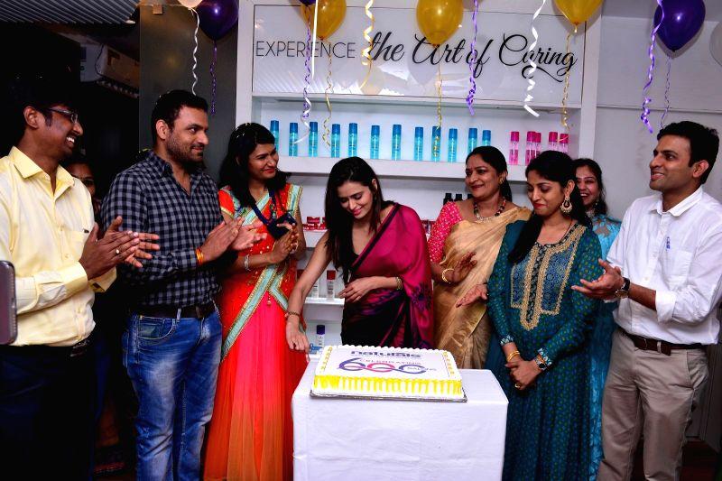 Actress Meenakshi Dixit during launch of a salon in Mumbai on Nov 13, 2017. - Meenakshi Dixit