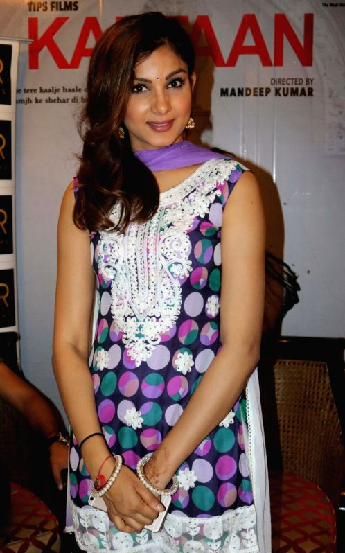 """Actress Monica Gill during a press conference to promote their upcoming film """"Kaptaan"""" in New Delhi on May 14, 2016. - Monica Gill"""