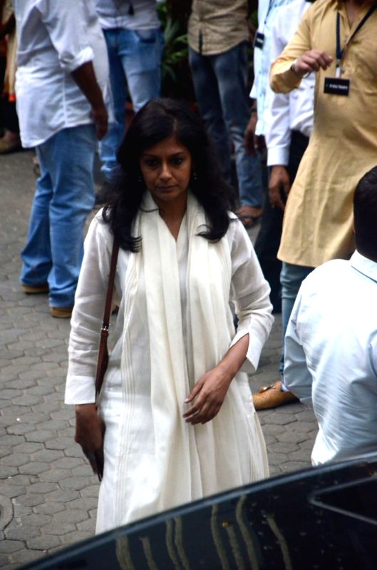 Actress Nandita Das arrives to attend Late actor Shashi Kapoor's condolence meeting in Mumbai on Dec 7, 2017. - Nandita Das and Shashi Kapoor