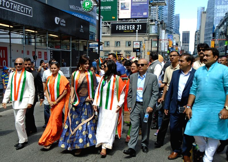 Actress Neetu Chandra (third from left) leads India Independence Day Parade in Toronto on Sunday, Aug 7 - Neetu Chandra