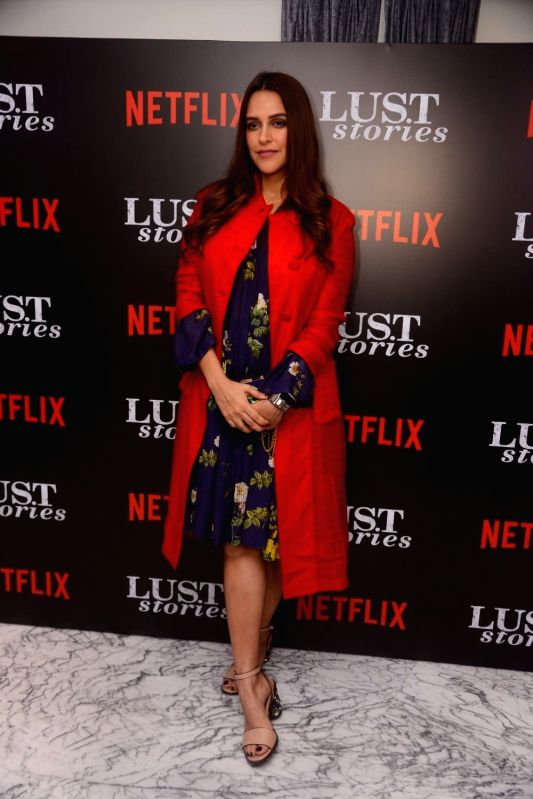 """Actress Neha Dhupia at the special screening of Netflix show titled """"Lust Stories"""" in Mumbai on June 13, 2018. - Neha Dhupia"""