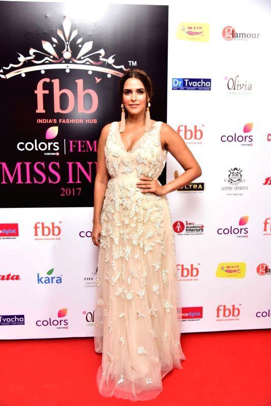 Actress Neha Dhupia during the Femina Miss India North 2017 in New Delhi on April 16, 2017. - Neha Dhupia