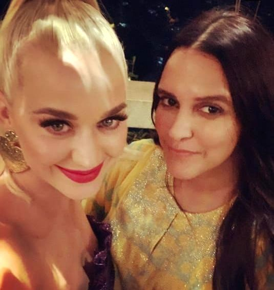Actress Neha Dhupia with pop singer Katy Perry at a party hosted by filmmaker Karan Johar at his residence.