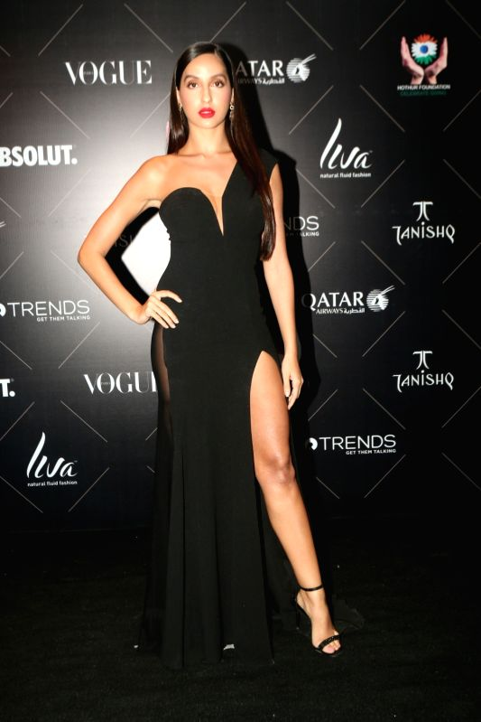"Actress Nora Fatehi at the red carpet of ""Vogue Beauty Awards"" in Mumbai on July 31, 2018. - Nora Fatehi"