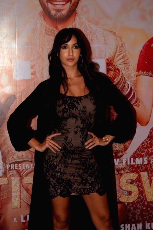 "Actress Nora Fatehi at the success party of film ""Sonu Ke Titu Ki Sweety"" in Mumbai on March 12, 2018."