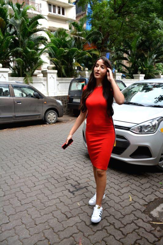 Actress Nora Fatehi seen at Mumbai's Bandra on Aug 3, 2018. - Nora Fatehi
