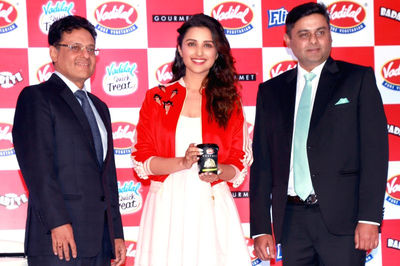 Actress Parineeti Chopra at the launch of the new flavour of Vadilal's ice cream, in New Delhi on April 6,2016. - Parineeti Chopra
