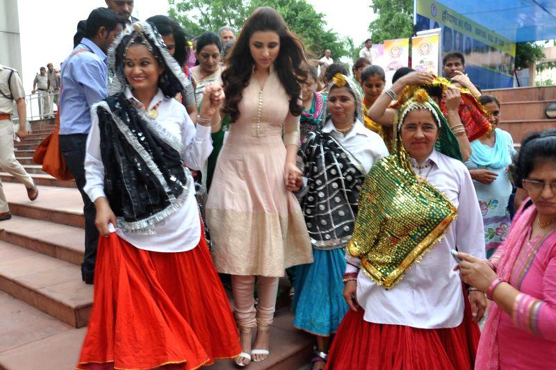 Actress Parineeti Chopra during a `Beti Padho Beti Bachao` campaign in Gurgaon on July 21, 2015.