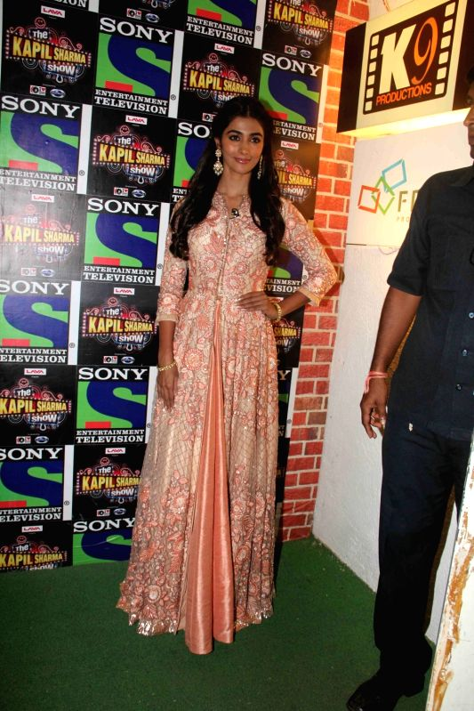 Actress Pooja Hegde during the promotion of film Mohenjo Daro on the sets of The Kapil Sharma Show in Mumbai, on Aug 2, 2016. - Pooja Hegde