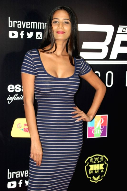 Actress Poonam Pandey during the Mixed Martial Arts event organised by Bahrain's Brave Combat Federation in Mumbai on April 23, 2017. - Poonam Pandey