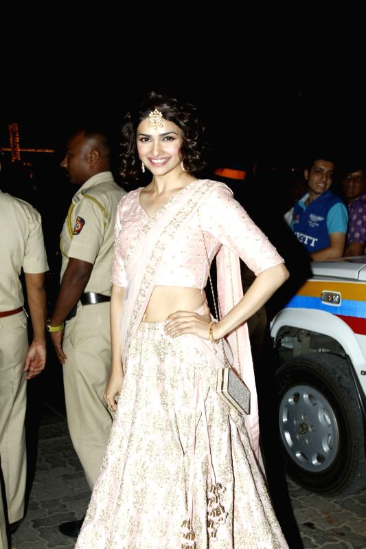 Actress Prachi Desai arrive to attend the Amitabh Bachchan's Diwali party in Mumbai on Nov 11, 2015. - Prachi Desai