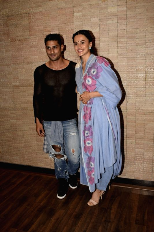 "Actress Prateik Babbar and Taapsee Pannu during a media interaction of their upcoming film ""Mulk"" in Mumbai on July 26, 2018. - Prateik Babbar"