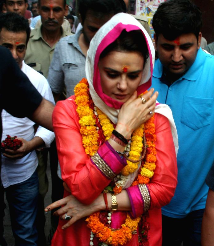 Actress Preity Zinta comes out of Baba Kaal Bhairav Temple in Varanasi on May 2, 2014.