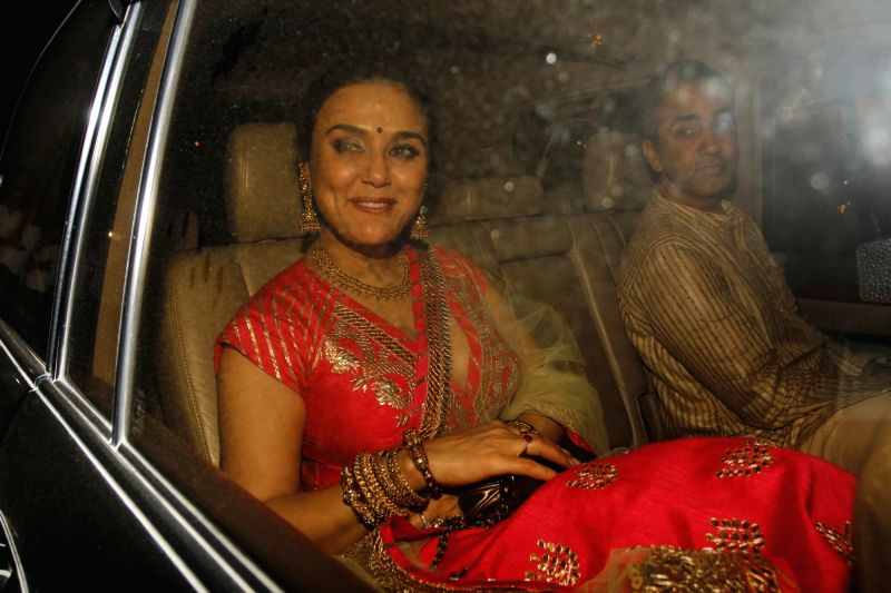 Actress Priety Zinta arrive to attend the Amitabh Bachchan's Diwali party in Mumbai on Nov 11, 2015. - Priety Zinta