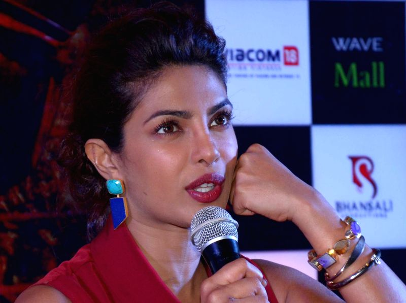 Actress Priyanka Chopra during a press conference to promote her upcoming film `Mary Kom` in Lucknow on Aug 29, 2014. - Priyanka Chopra