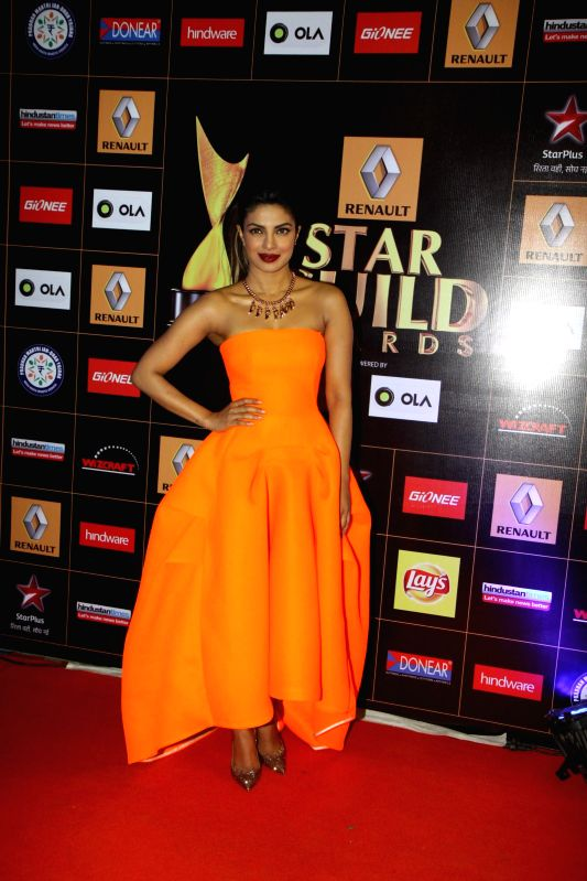Actress Priyanka Chopra during the Star Guild Awards 2015 in Mumbai on Jan 11, 2015. - Priyanka Chopra