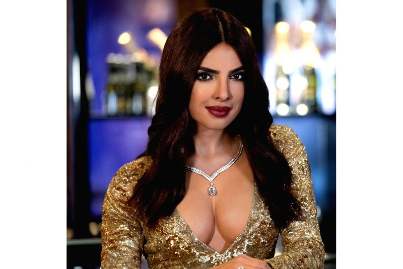 Actress Priyanka Chopra Jonas's wax statue, clad in a low-cut dazzling golden dress, was launched here