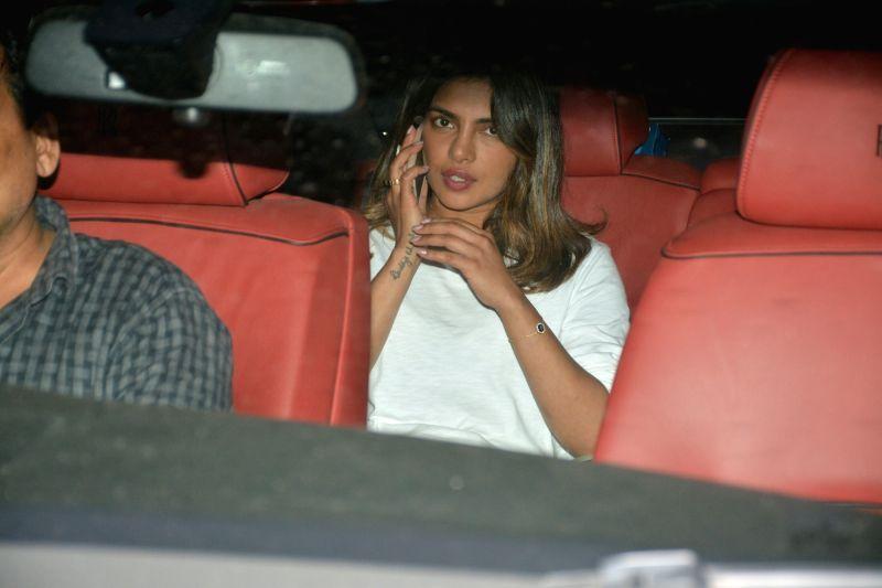 Actress Priyanka Chopra seen at actor-filmmaker Farhan Akhtar's residence in Bandra, Mumbai on July 24, 2018. - Priyanka Chopra