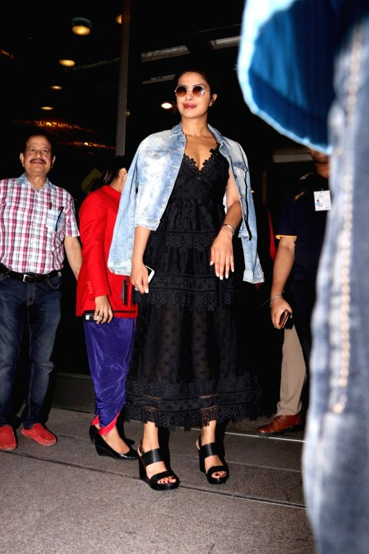 Actress Priyanka Chopra spotted at airport in Mumbai,on June 12, 2017. - Priyanka Chopra