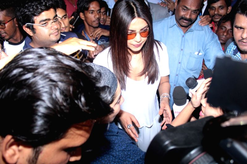 Actress Priyanka Chopra spotted at Chhatrapati Shivaji International Airport, in Mumbai,  on April 21, 2017. - Priyanka Chopra