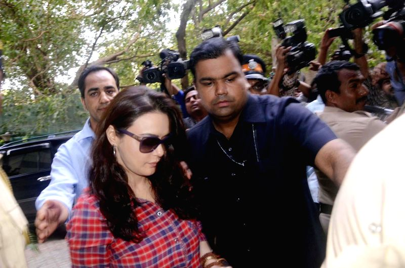 Actress-producer Preity Zinta arrives to record her statement at Wankhede Stadium in Mumbai on June 24, 2014.