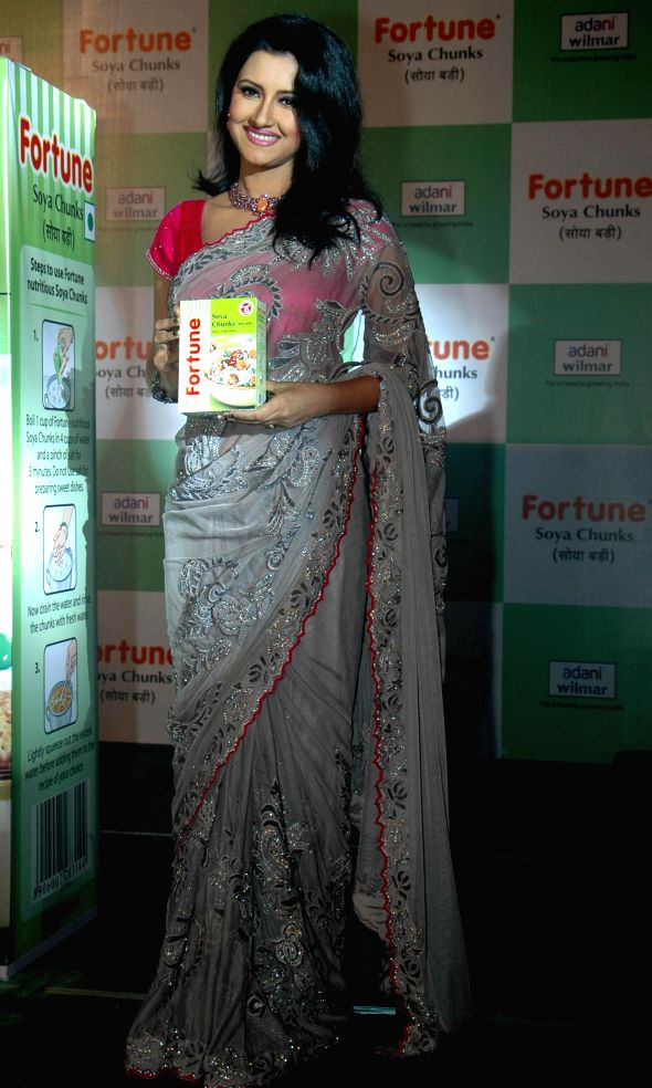 Actress Rachana Banerjee during launch of a food product in Kolkata on July 3, 2014.