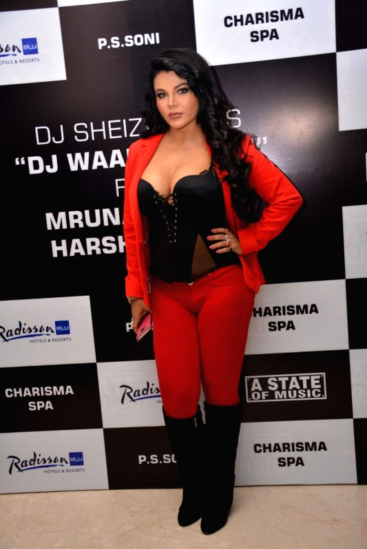 Actress Rakhi Sawant during the promotion of her upcoming song 'DJ Wali Chori' in New Delhi on July 19, 2016. - Rakhi Sawant