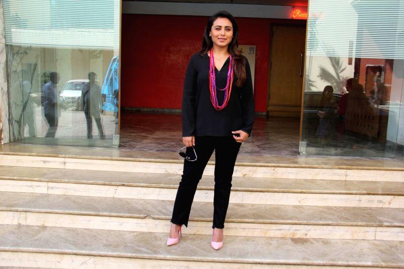 """Actress Rani Mukerji at the promotion of her upcoming film """"Hichki"""" in Mumbai on Feb 1, 2018. - Rani Mukerji"""