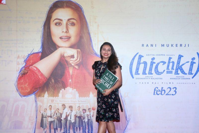 "Actress Rani Mukerji at the trailer launch of her film ""Hichki"" in Mumbai (Image Source: IANS)"