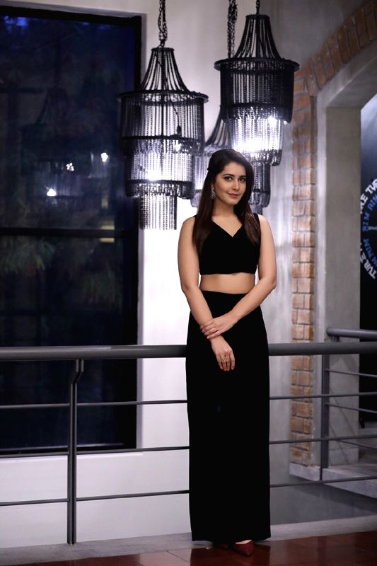 Actress Rashi Khanna during the launch of Dr Copper Water Bottles in Hyderabad. - Rashi Khanna