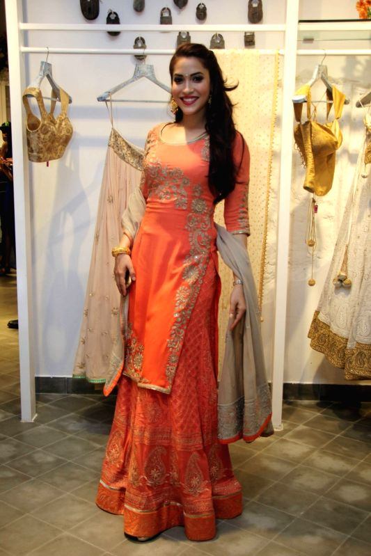 Actress Rashmi Nigam during a show organised by designer Sumona Parekh to showcase her Bridal/Fall Winter 2015 collection in Mumbai on Oct 27, 2015. - Rashmi Nigam