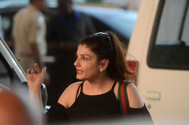 Actress Raveena Tandon arrives to attend Justin Bieber's show at DY Patil Stadium in Mumbai, on May 10, 2017. - Raveena Tandon