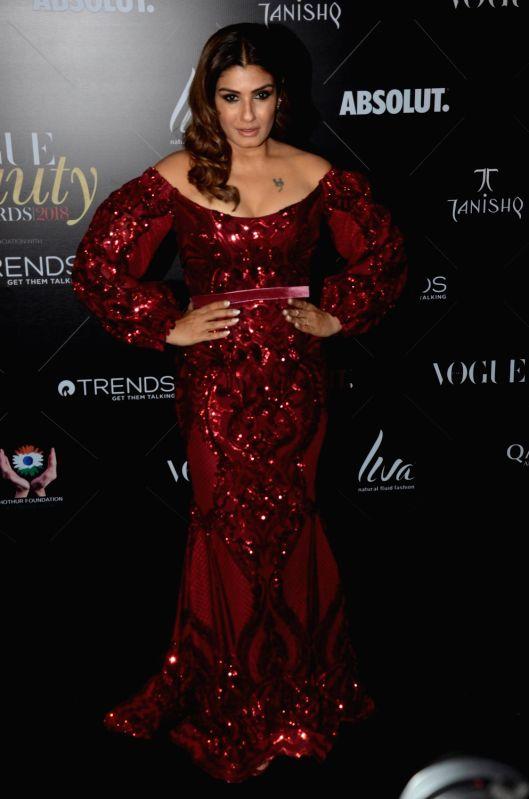 """Actress Raveena Tandon at the red carpet of """"Vogue Beauty Awards"""" in Mumbai on July 31, 2018. - Raveena Tandon"""