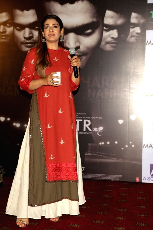 "Actress Raveena Tandon during a press conference to promote her upcoming film ""Maatr"" in New Delhi on April 20, 2017. - Raveena Tandon"