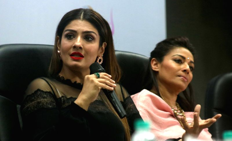 """Actress Raveena Tandon during an exclusive panel discussion on """"Can Business be an Agent for change"""" organised by FICCI Ladies Organisation (FLO) in New Delhi on Nov 15, 2016. - Raveena Tandon"""