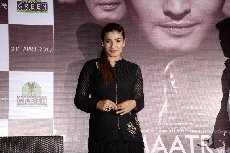 "Actress Raveena Tandon during promotion upcoming film ""Maatr"" in Kolkata, on April 21, 2017. - Raveena Tandon"