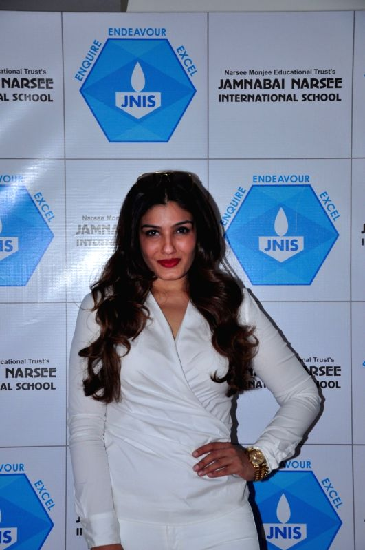 Actress  Raveena Tandon during the inauguration of Jamnabai Narsee International School Indoor Multi-Purpose Sports Hall, in Mumbai on Dec 10, 2015. - Raveena Tandon