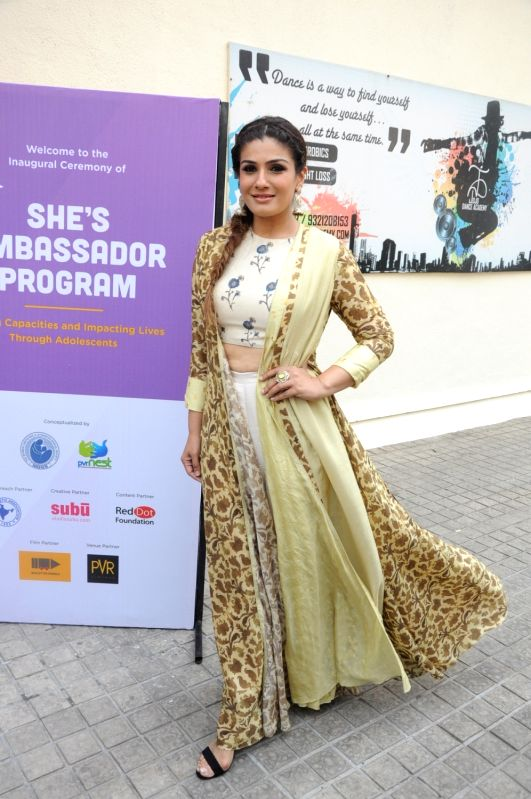 Actress Raveena Tandon during the launch of PVR Nest new initiative She's Ambassador in Mumbai on April 11, 2017. - Raveena Tandon