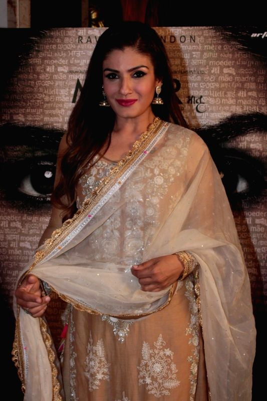 "Actress Raveena Tandon during the press conference of film ""Maatr"" in Mumbai on April 17, 2017. - Raveena Tandon"